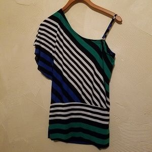 One Shoulder Drop Top Striped Size Medium